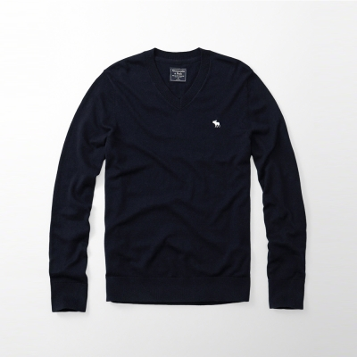 A&F 經典刺繡麋鹿V領長袖毛衣-深藍色 AF Abercrombie