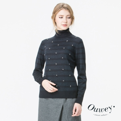 OUWEY歐薇 簡約條紋翻領針織上衣(藍)