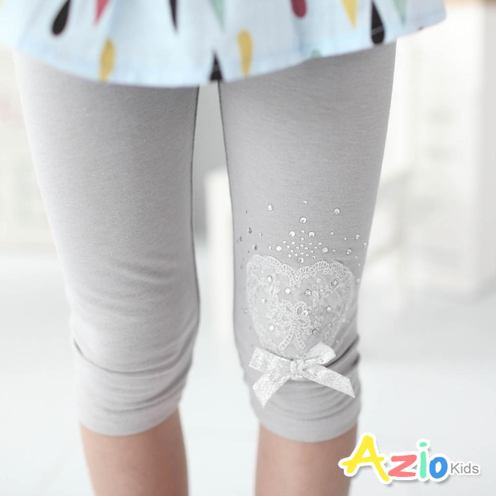 Azio Kids-內搭褲 閃亮愛心水鑽鬆緊內搭褲(灰)