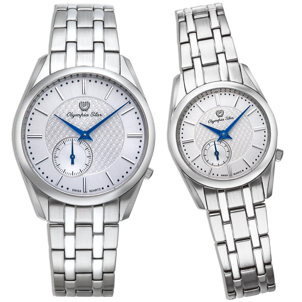 Olympia Star 都會系列情人對錶 58072-07LS+MS-銀/26mm+36mm