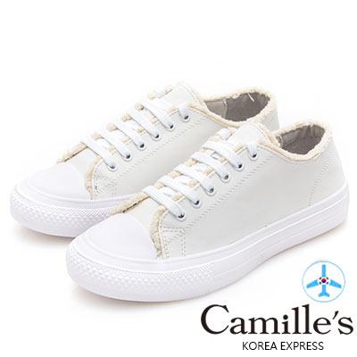 Camille's 韓國空運-綁帶絨毛滾邊休閒鞋-白色