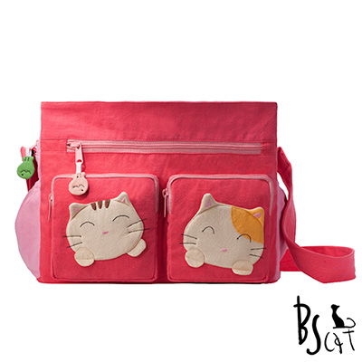 ABS貝斯貓 可愛貓咪拼布 肩背包 斜揹包 (粉) 88-217