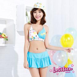 夏之戀LOVETEEN 藍白印花 比基尼泳裝褲裙