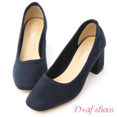 D+AF 秋氛時尚.素面絨料小方頭高跟鞋*藍