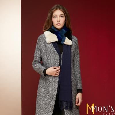 MONS-獺兔色塊撞色圍巾組