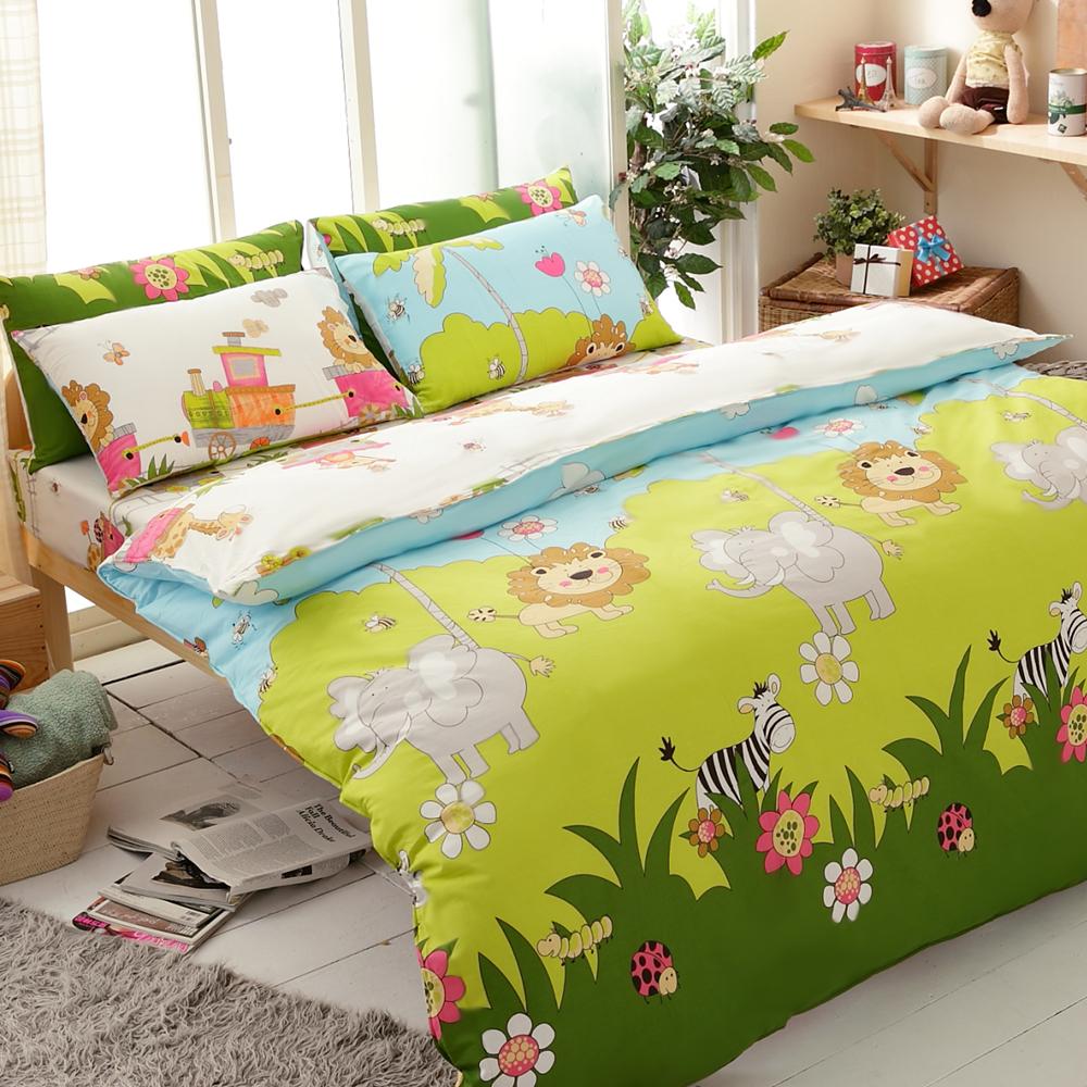 【FOCA-森林王國】四件式100%精梳純棉兩用被床包組-特大