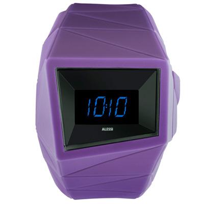 ALESSI 線條結構立體電子腕錶-黑x紫/45mm