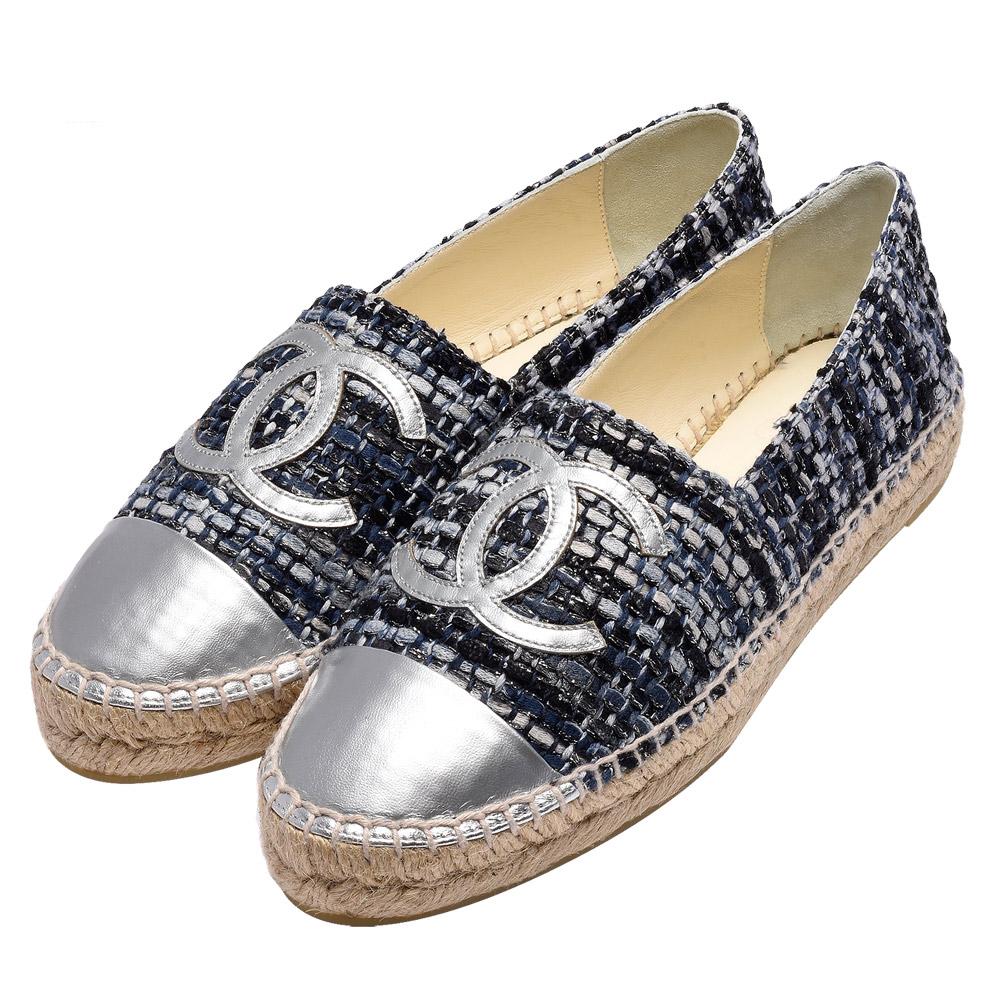 CHANEL 經典Espadrilles羊皮小香LOGO斜紋軟呢厚底鉛筆鞋(銀-38)