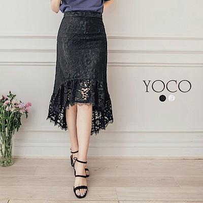 東京著衣-yoco 浪漫古典魚尾裙襬蕾絲長裙-XS.S.M(共二色)