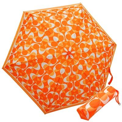 COACH亮橙色漸層C-Logo輕量攜帶型晴雨傘