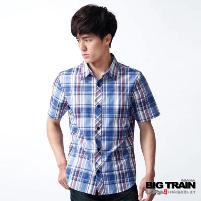 BIG TRAIN-基本款藍紅格紋短袖襯衫-藍紅格