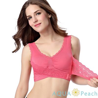 瑜珈 無鋼圈前扣式內衣小背心 (西瓜紅)-AQUA Peach
