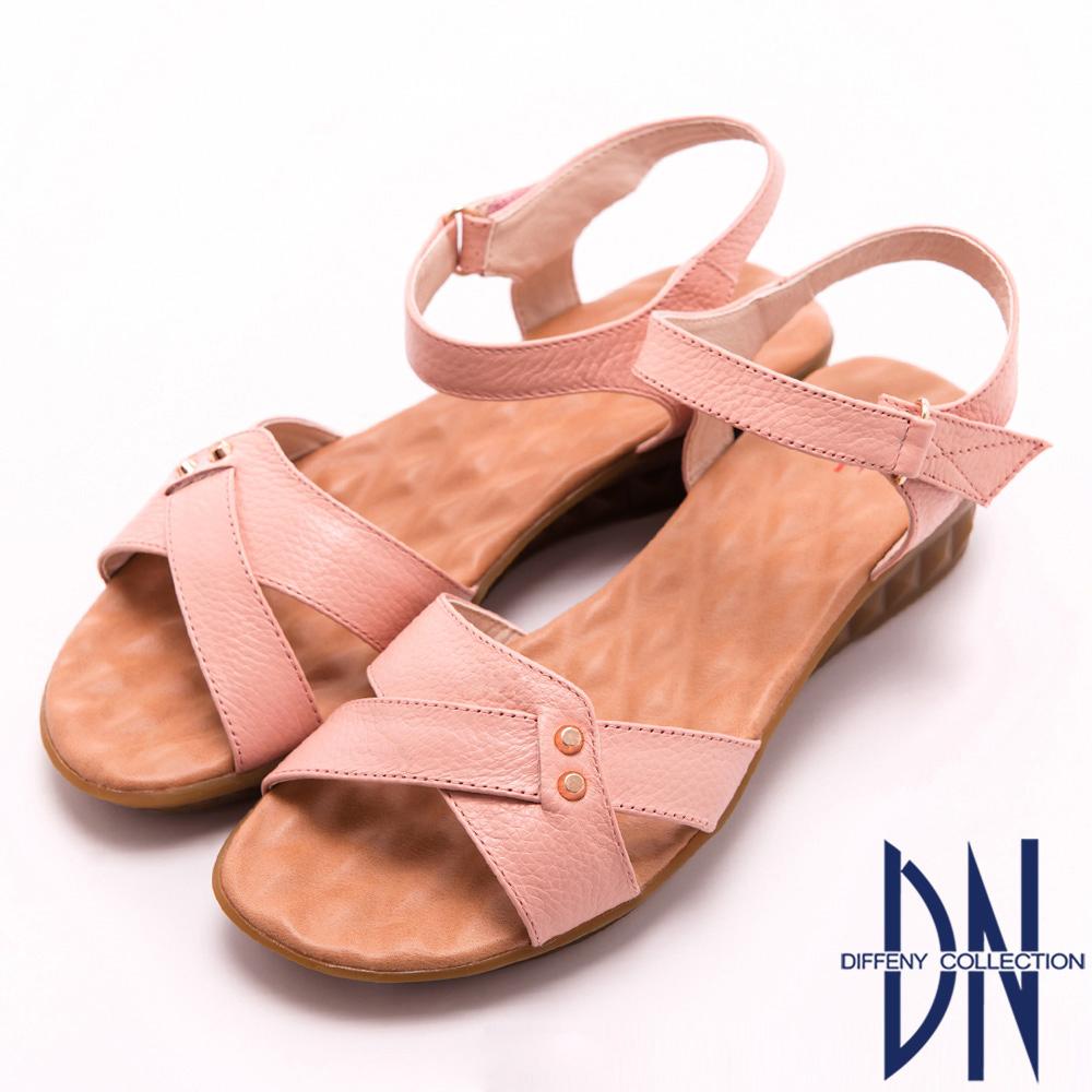 DN 氣質女孩 簡約甜美MIT真皮楔型涼鞋-粉
