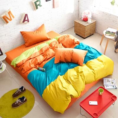 Aileen-撞色糖果單人三件式被套床包組-橘子Q