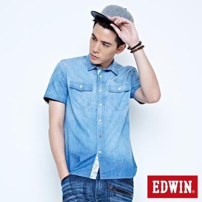 EDWIN 棕梠印花牛仔休閒襯衫-男-拔洗藍