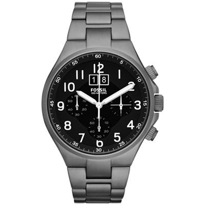 FOSSIL 領袖資格三環計時腕錶-鐵灰/46mm