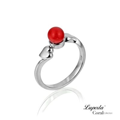 大東山珠寶 全紅珊瑚純銀戒指 心心相印