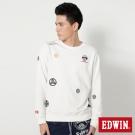 EDWIN 江戶勝家徽繡花長袖T恤-男-米白色