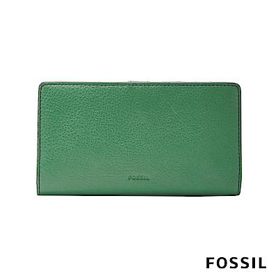 FOSSIL CAROLINE真皮薄型中長夾-綠色大地