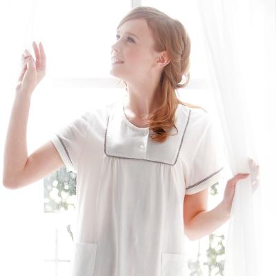 羅絲美睡衣 - 清新典雅短袖洋裝睡衣 (人氣灰)