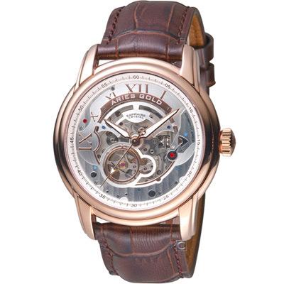 Aries Gold 雅力士 EL TORO時機交會機械手錶-白x玫瑰金色/43mm