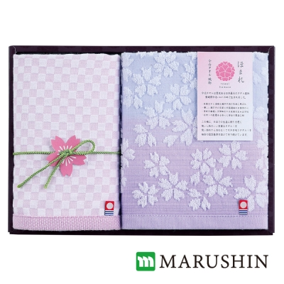 日本丸真 今治櫻花限定禮盒兩件組-紫(方巾x1+毛巾x1)