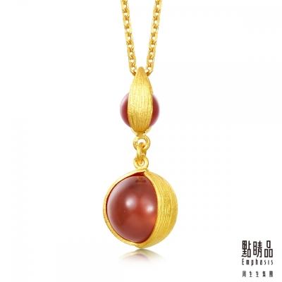 點睛品Emphasis 黃金吊墜- g* collection -圓形紅瑪瑙