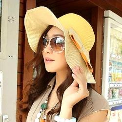 Aimee Toff 氣質柔美雙色精巧遮陽帽(黃)