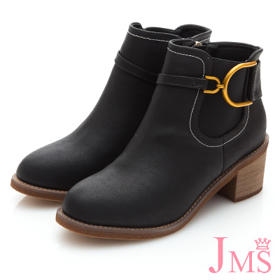 JMS-騎士風金屬D字馬蹄扣飾帥氣短靴-黑色