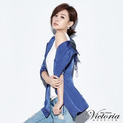 Victoria 銀蔥配領拼接背心-女-白色