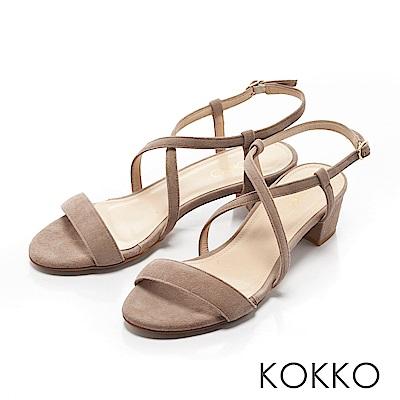 KOKKO-復古女伶交叉線條羊麂皮粗跟涼鞋-中性灰