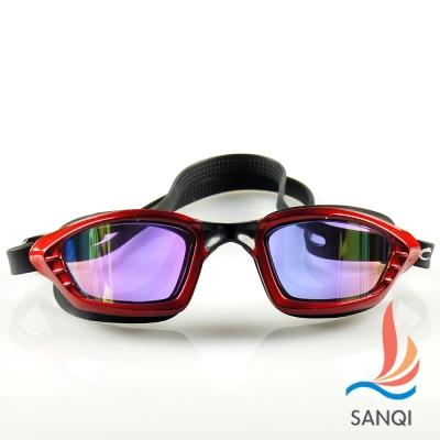 SANQI三奇 夏日必備抗UV防霧休閒泳鏡(9017-紅F)