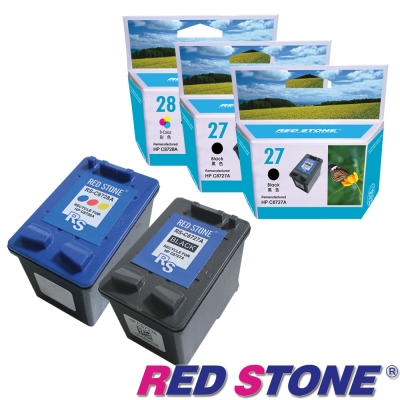 RED STONE for HP NO.27+NO.28環保墨水匣(二黑一彩)優惠組