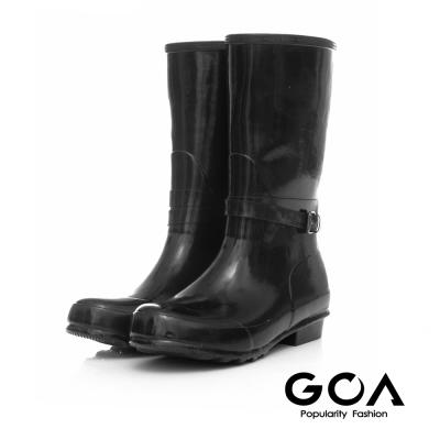 GOA 飾釦造型亮面兩穿長筒雨靴-黑色