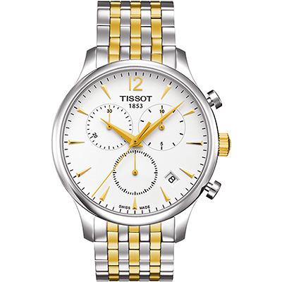 TISSOT Tradition 經典復刻計時腕錶-銀x雙色版/42mm T0636172203700