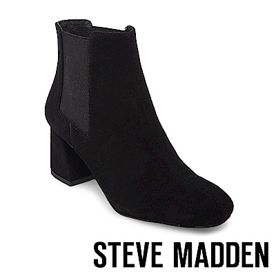 STEVE MADDEN-MODEST 麂皮粗跟雀爾喜靴-黑色
