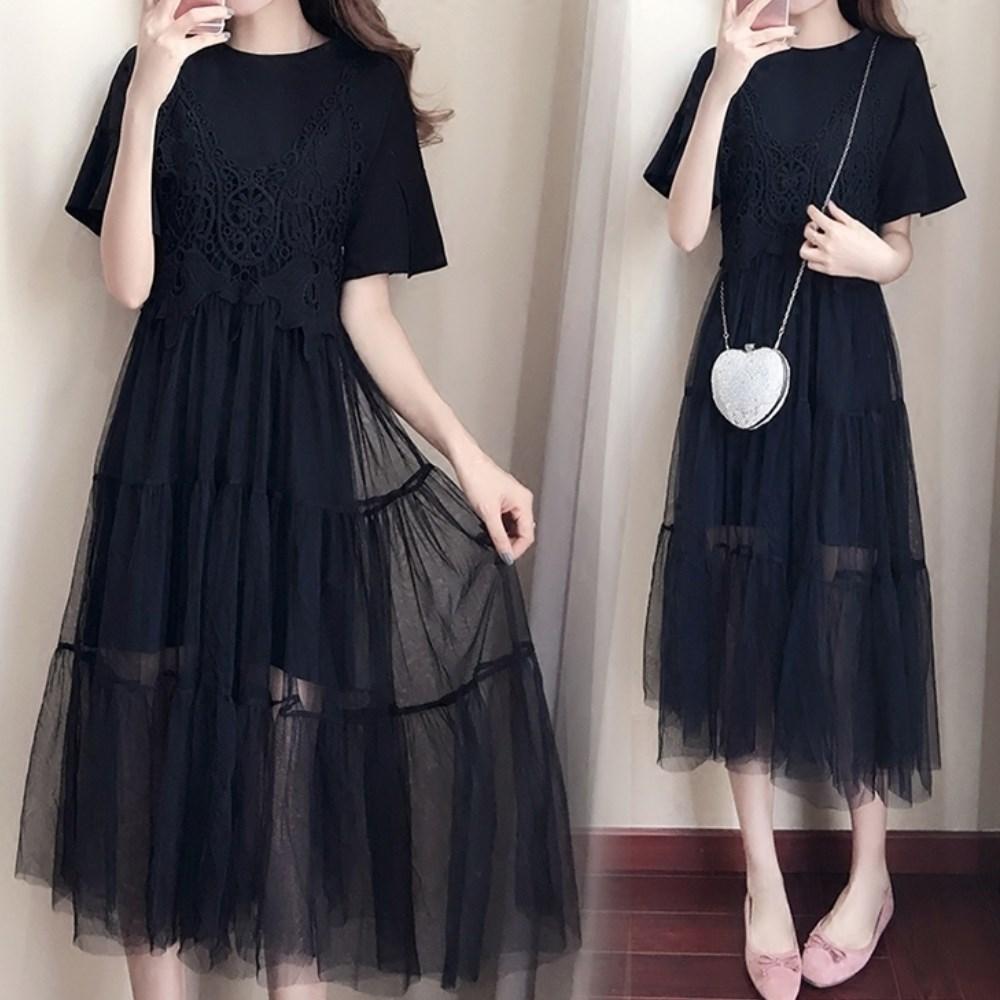 中大尺碼黑色長上衣加蕾絲刻花吊帶層次紗裙洋裝XL~4L-Ballet Dolly