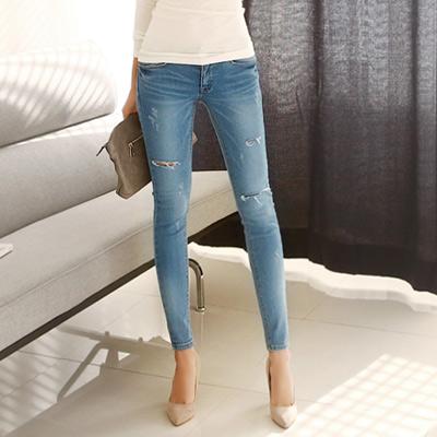 正韓 抓皺破損造型洗色牛仔褲 (藍色)-N.C21
