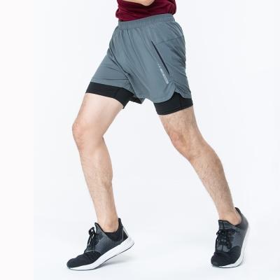 【ATUNAS 歐都納】男款運動假兩件式彈性短跑褲 A1-PA1725M 灰