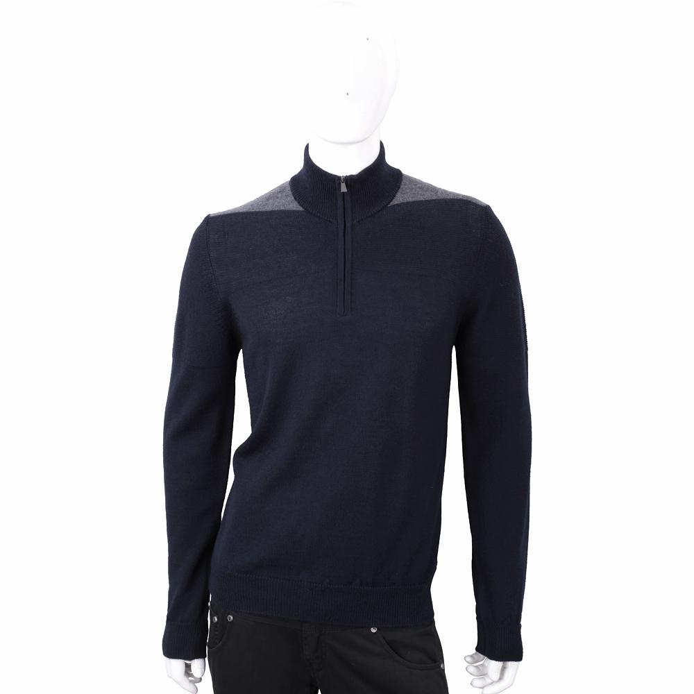 TRUSSARDI 拉鍊立領撞色細節深藍色針織羊毛衫