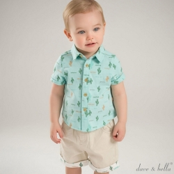 Dave Bella 淺藍綠仙人掌短袖上衣短褲套裝2件組