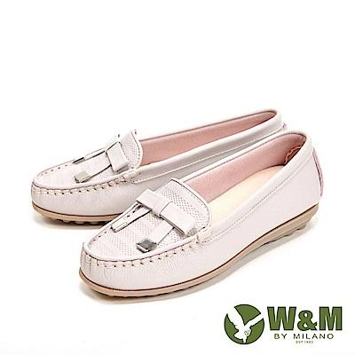 W&M 可水洗舒適柔軟蝴蝶釦 豆豆鞋 女鞋-淺粉