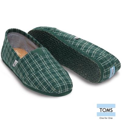 TOMS 格紋簡約帆布懶人鞋-男款