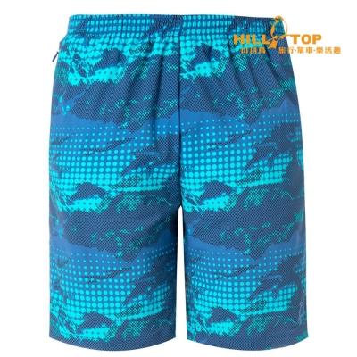 【hilltop山頂鳥】男款抗UV吸濕排汗彈性短褲S09M65藍深印花
