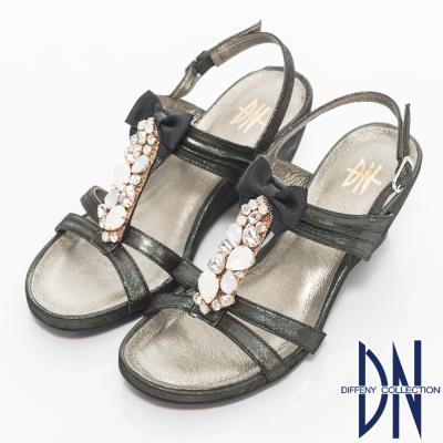 DN-耀眼精緻-MIT珠光牛皮鑽飾坡跟涼鞋-黑