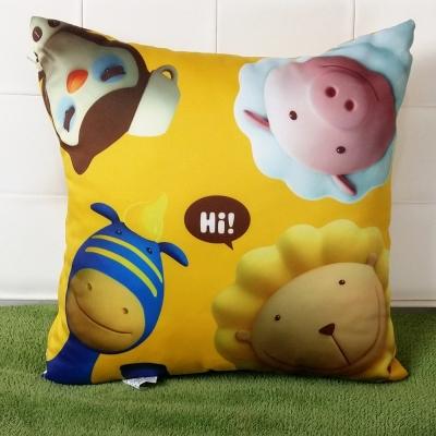 奶油獅-總動員系列-台灣製造專利全彩立體印刷方形抱枕-黃-ㄧ入