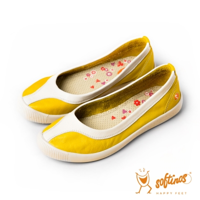 Softinos(女) 花的孩子 雙色圓頭拼色休閒平底鞋 - 米黃