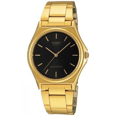 CASIO 經典簡約時尚男士腕錶(MTP-1130N-1A)-金色X黑色丁字面/36mm