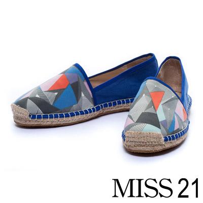 MISS 21 草編手工休閒鞋幾何印花拼接帆布-藍
