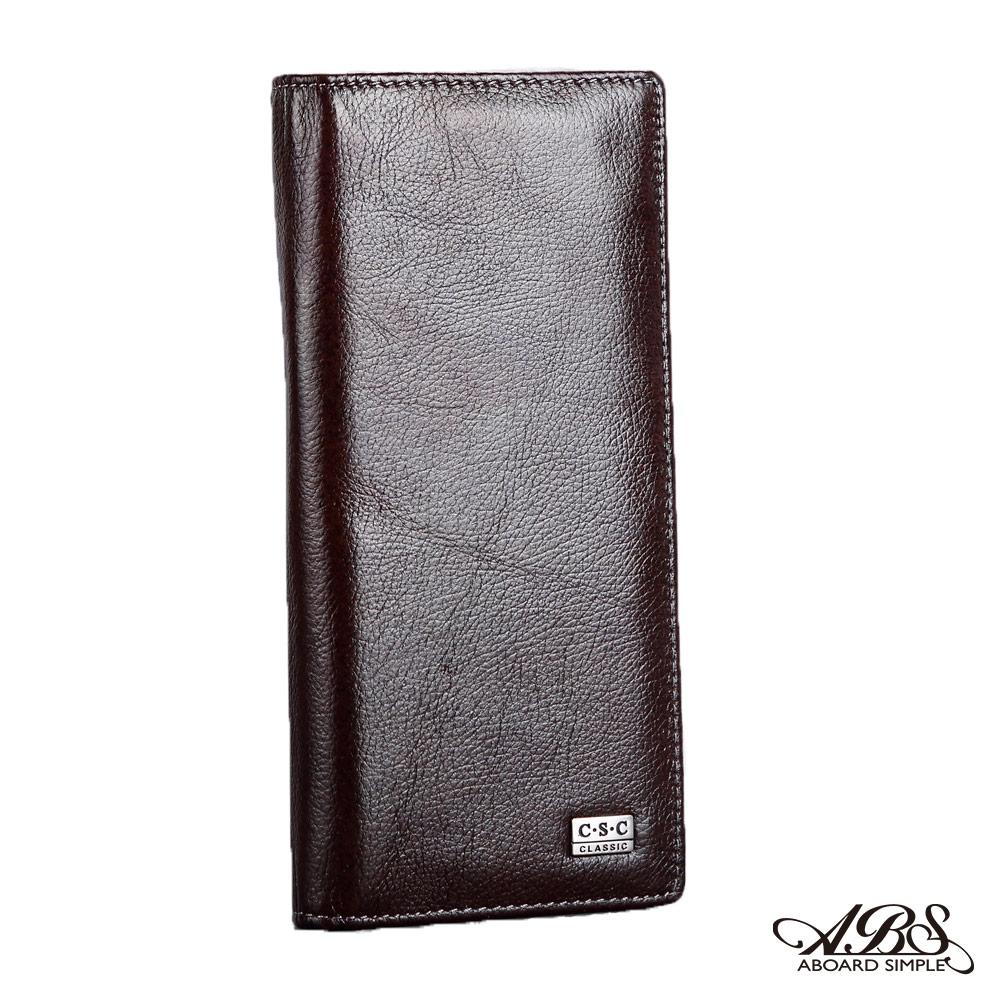 ABS愛貝斯 男用皮夾 長式真皮 雙層鈔票層(咖啡色)7073-003